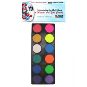 PXP Schminkpalet 12 kleuren neon/metall.